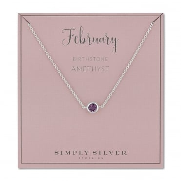 Sterling silver february amethyst birthstone necklace