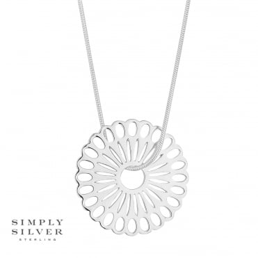 Sterling silver filigree disc necklace
