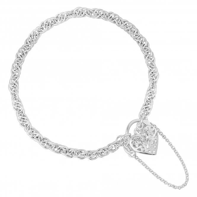 Sterling Silver Filigree Heart Locket Bracelet
