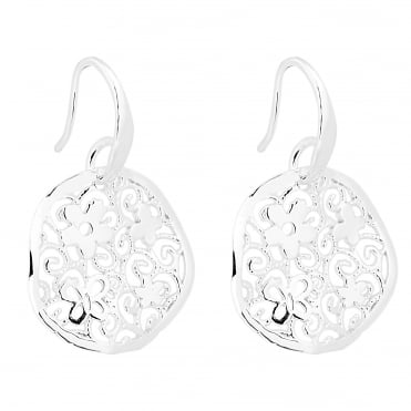 Sterling silver floral and butterfly filigree disc earring