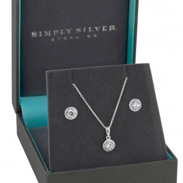 Sterling silver halo jewellery set