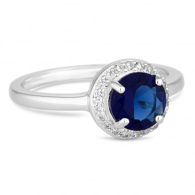 Simply Silver Sterling Silver Dark Blue Navy Cubic Zirconia Halo Ring
