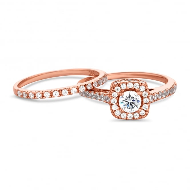 14ct Rose Gold Plated Sterling Silver Cubic Zirconia Halo Ring And Band Ring - Pack of 2