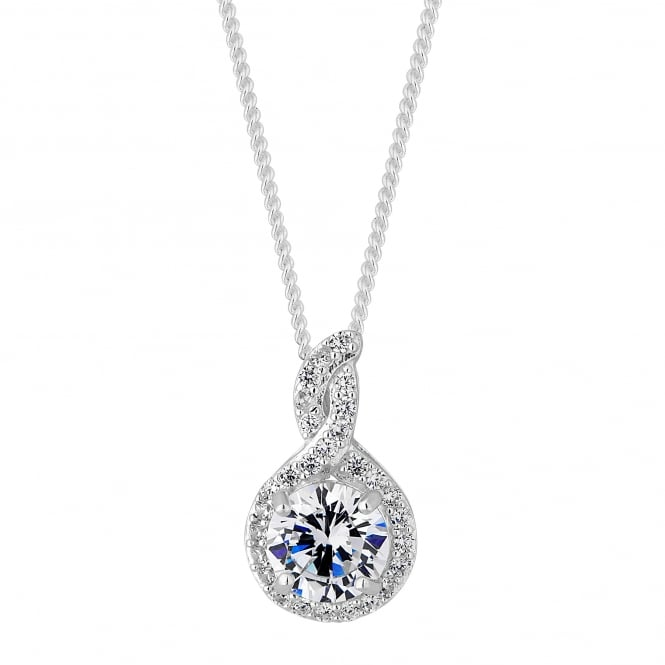 Sterling Silver Cubic Zirconia Halo Twist Necklace