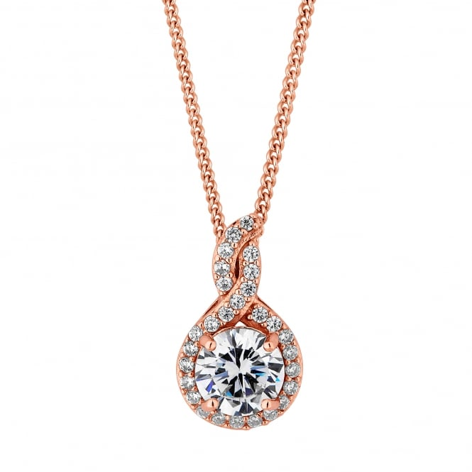 14ct Rose Gold Plated Sterling Silver cubic Zirconia Halo Twist Necklace