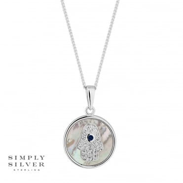 Sterling silver hamsa hand disc necklace