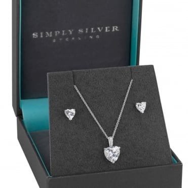 Sterling Silver Cubic Zirconia Heart Jewellery Set In A Gift Box