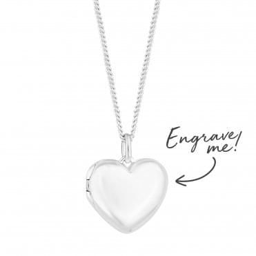 Sterling Silver Heart Locket - Personalise By Engraving