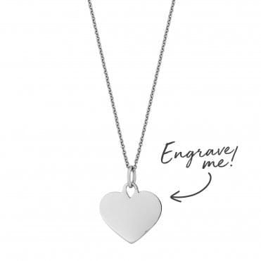 Sterling Silver Heart Necklace - Personalise By Engraving