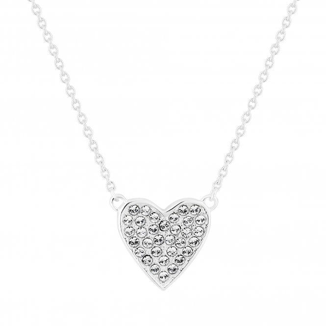 Sterling Silver Heart Pendant Necklace Embellished With Swarovski Crystals