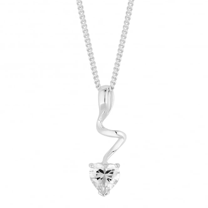 Simply Silver Sterling silver heart twist necklace