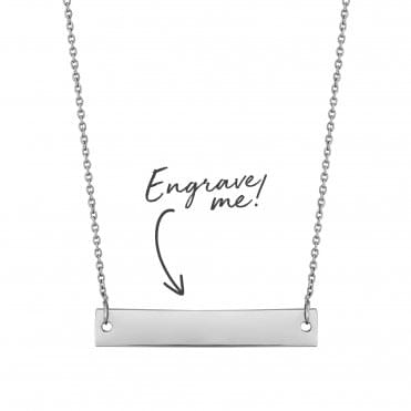 Sterling Silver Horizontal Bar Necklace - Personalise By Engraving