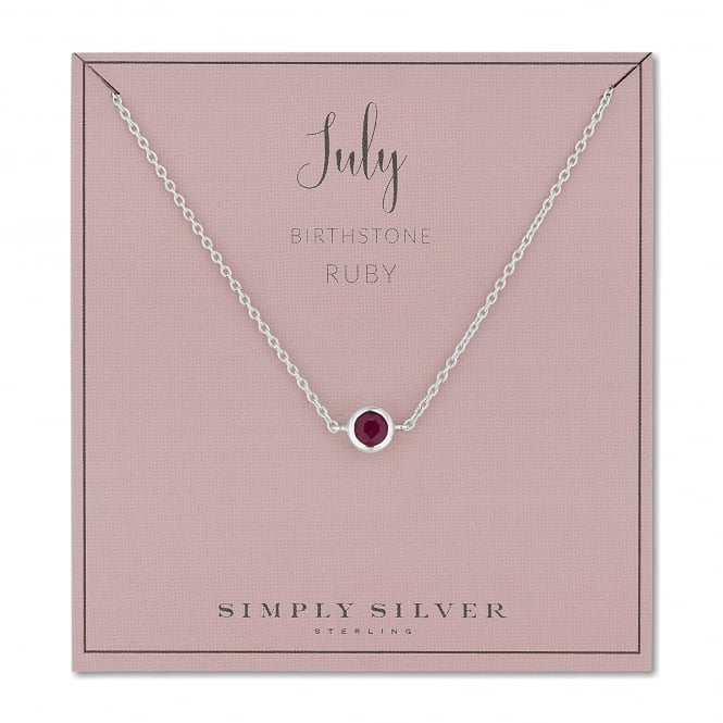 Sterling Silver Red Ruby July Birthstone Necklace On A Gift Card