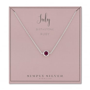 Sterling silver july ruby birthstone necklace