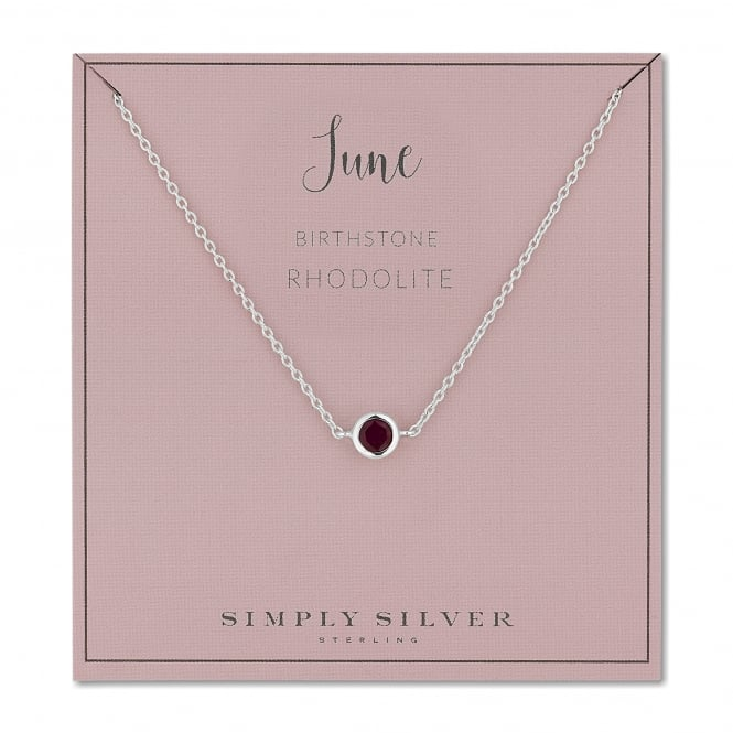 Sterling Silver Red Rhodolite June Birthstone Necklace On A Gift Card