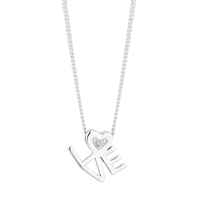 Simply Silver Sterling silver love pendant necklace