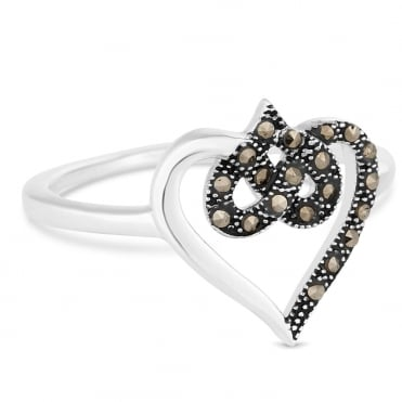 Sterling silver marcasite open heart ring