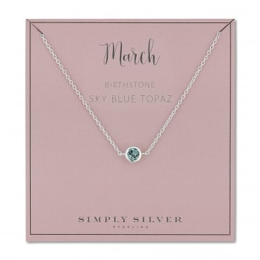 Sterling silver march blue topaz birthstone necklace
