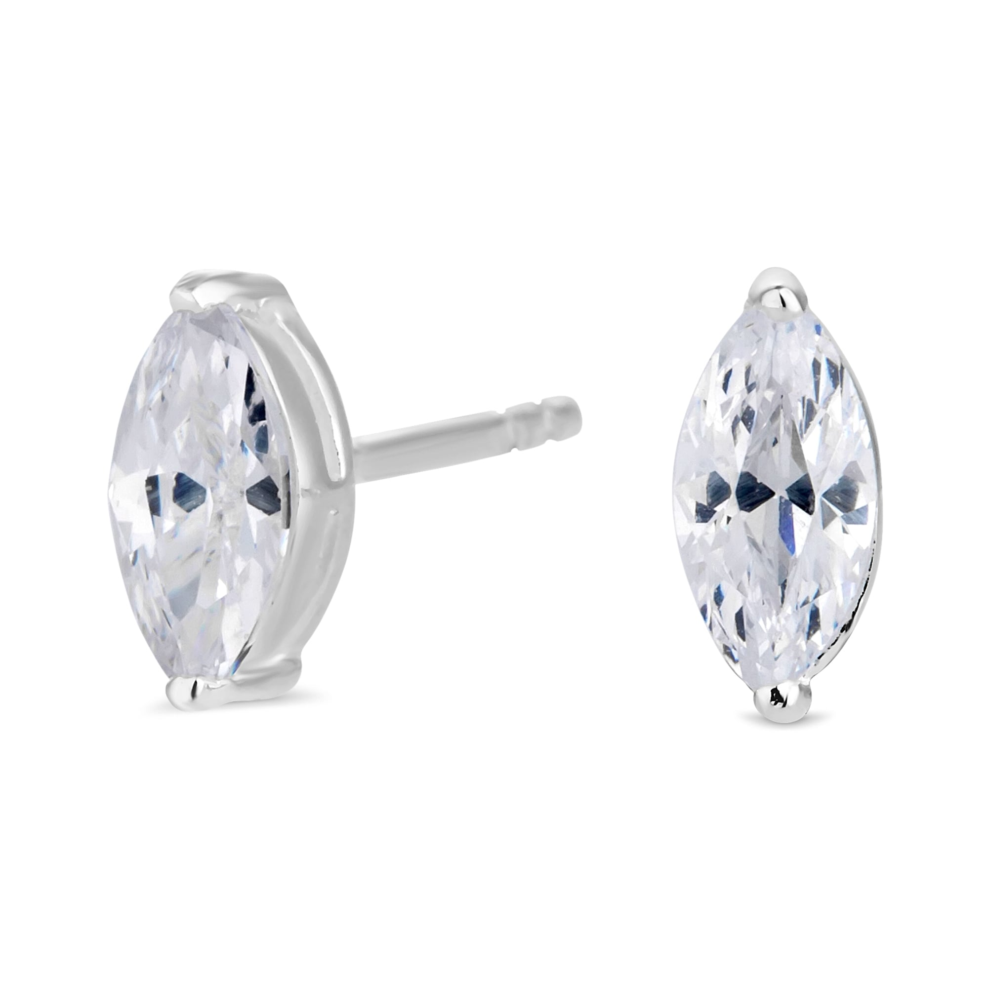 simply sterling earrings silver zirconia earring zoom cubic stud jewellery marquise