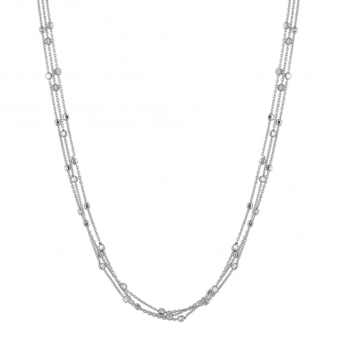 Sterling Silver Multi Chain Cube Bead Necklace