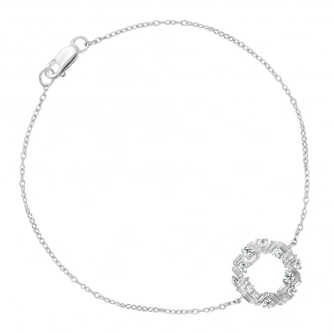 Sterling Silver Multi Cut Cubic Zirconia Open Circle Bracelet