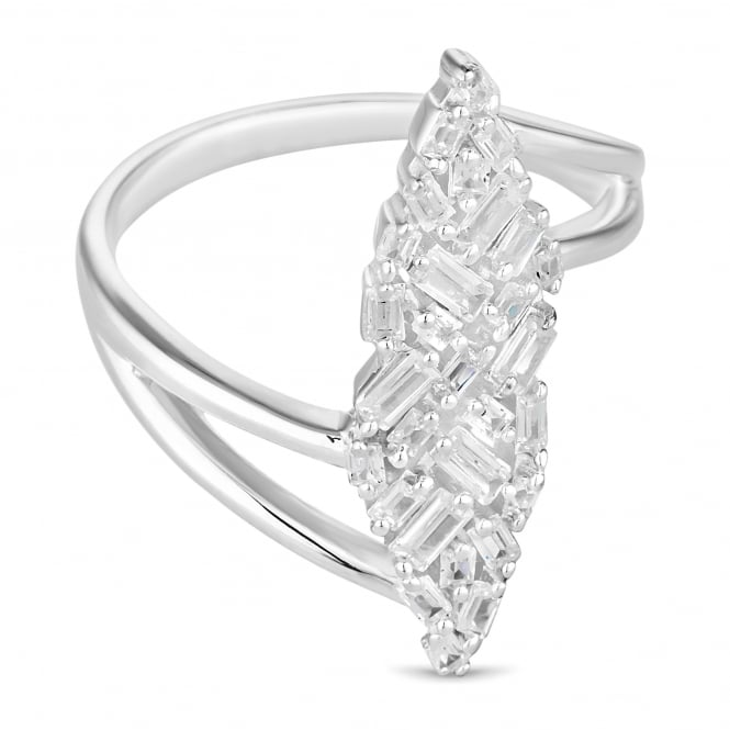 Simply Silver Sterling Silver Cubic Zirconia Multi Cut Long Ring