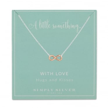 14ct Rose Gold Plated Sterling Silver Infinity on Sterling Silver Necklace On