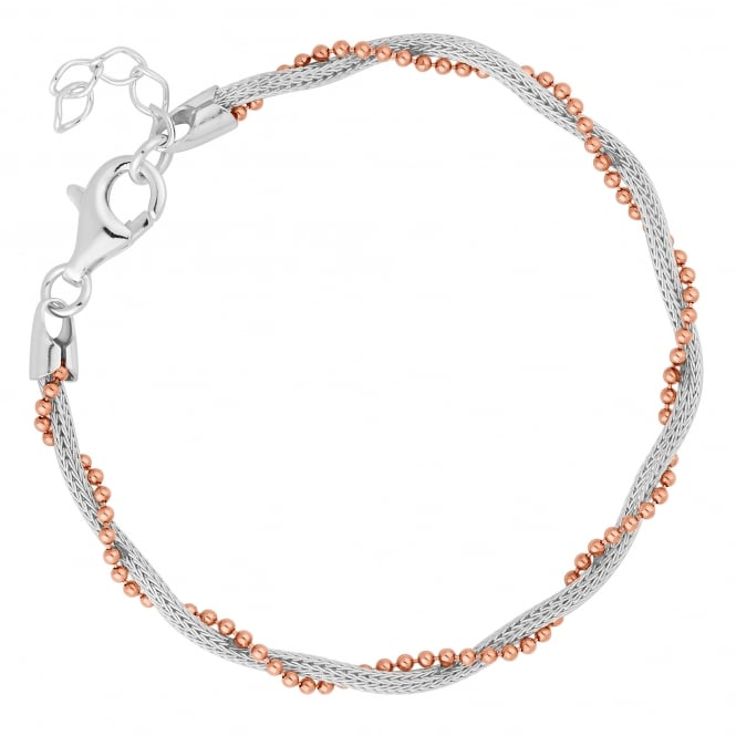 Simply Silver 14ct Rose Gold Plated Sterling Silver And Sterling Silver Twist Bracelet