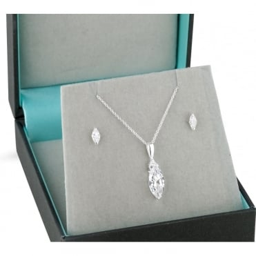 Sterling silver navette cubic zirconia necklace and earring set