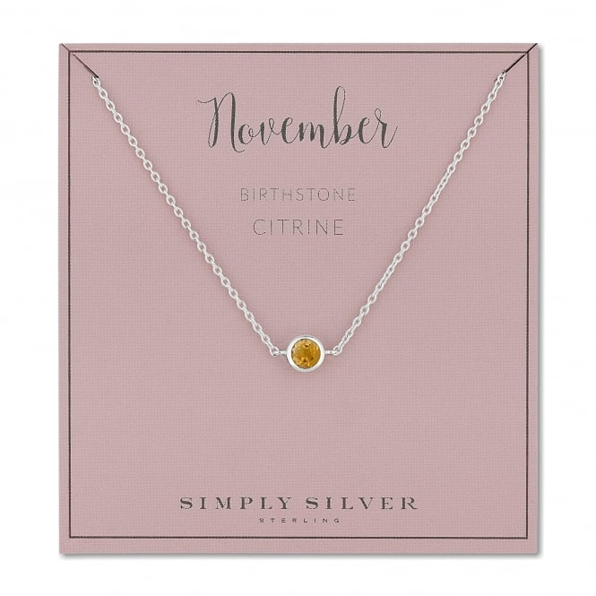 Sterling Silver Yellow Citrine November Birthstone Necklace On A Gift Card
