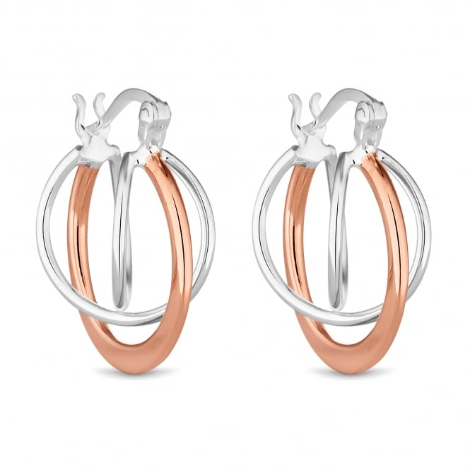 Sterling Silver And 14ct Rose Gold Plated Sterling Silver Orbit Hoop Earring