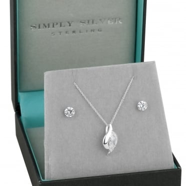 Sterling silver oval cubic zirconia pendant and earring set