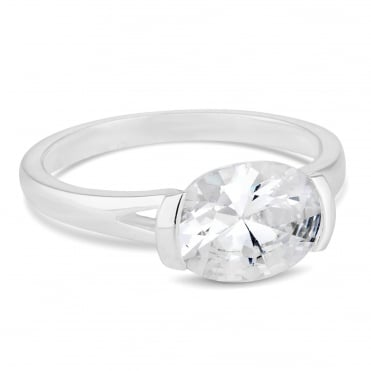 Sterling silver oval cubic zirconia ring
