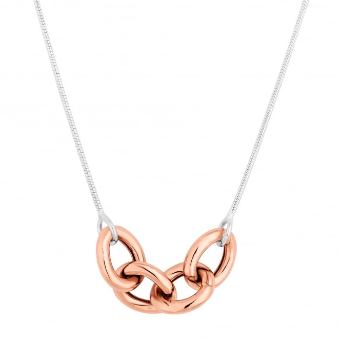 Sterling Silver Oversized 14ct Rose Gold Plated Sterling Silver Link Necklace