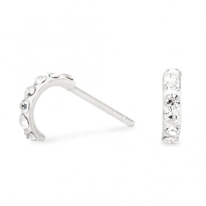 Simply Silver Sterling Silver Pave Mini Half Hoop Earring