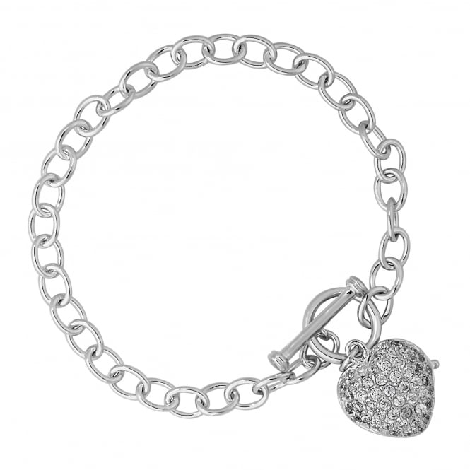 Simply Silver Sterling silver pave heart charm bracelet