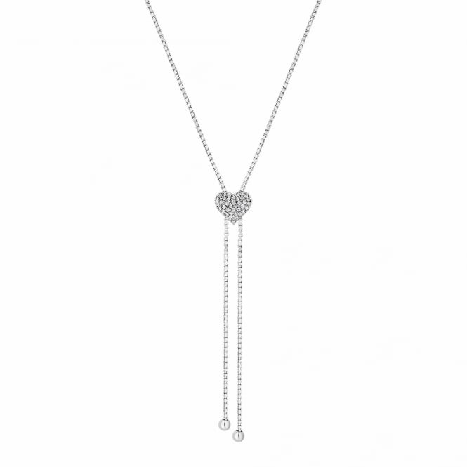 Sterling Silver Pave Heart Lariat Necklace