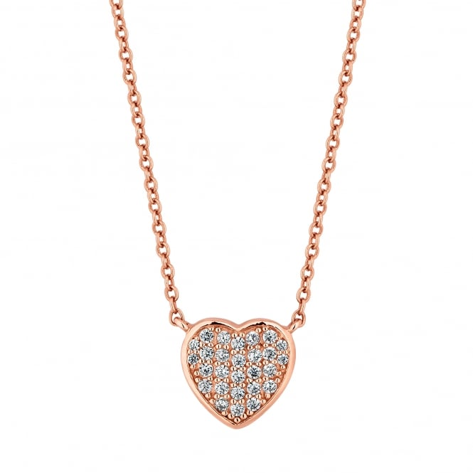Simply Silver 14ct Rose Gold Plated Sterling Silver Cubic Zirconia Pave Heart Necklace