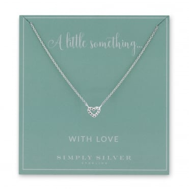 Sterling Silver Cubic Zirconia Pave Heart Necklace On