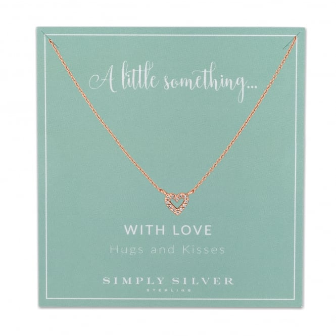 Simply Silver 14ct Rose Gold Plated Sterling Silver Pave Heart Necklace On