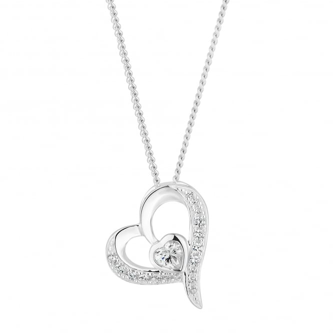 Simply Silver Sterling Silver Cubic Zirconia Pave Heart Pendant Necklace