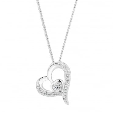 Sterling Silver Cubic Zirconia Pave Heart Pendant Necklace