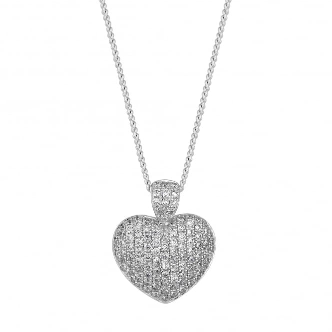 Sterling Silver Pave Heart Pendant Necklace