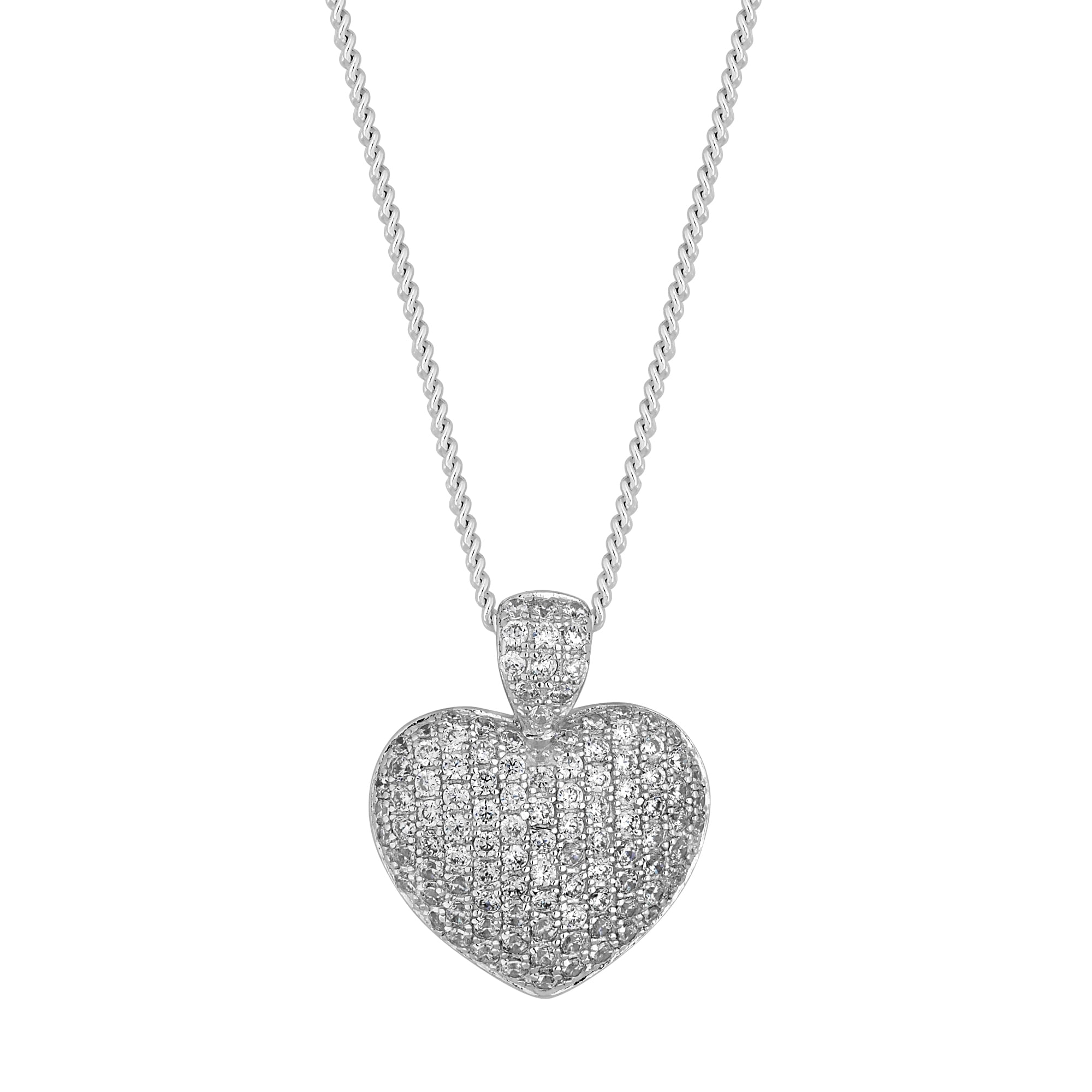 f02c39323 Simply Silver Sterling Pave Heart Pendant Necklace