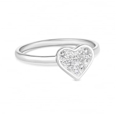 Sterling silver pave heart ring