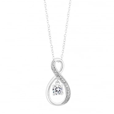 Sterling Silver Pave Infinity With Suspended Cubic Zirconia Pendant Necklace