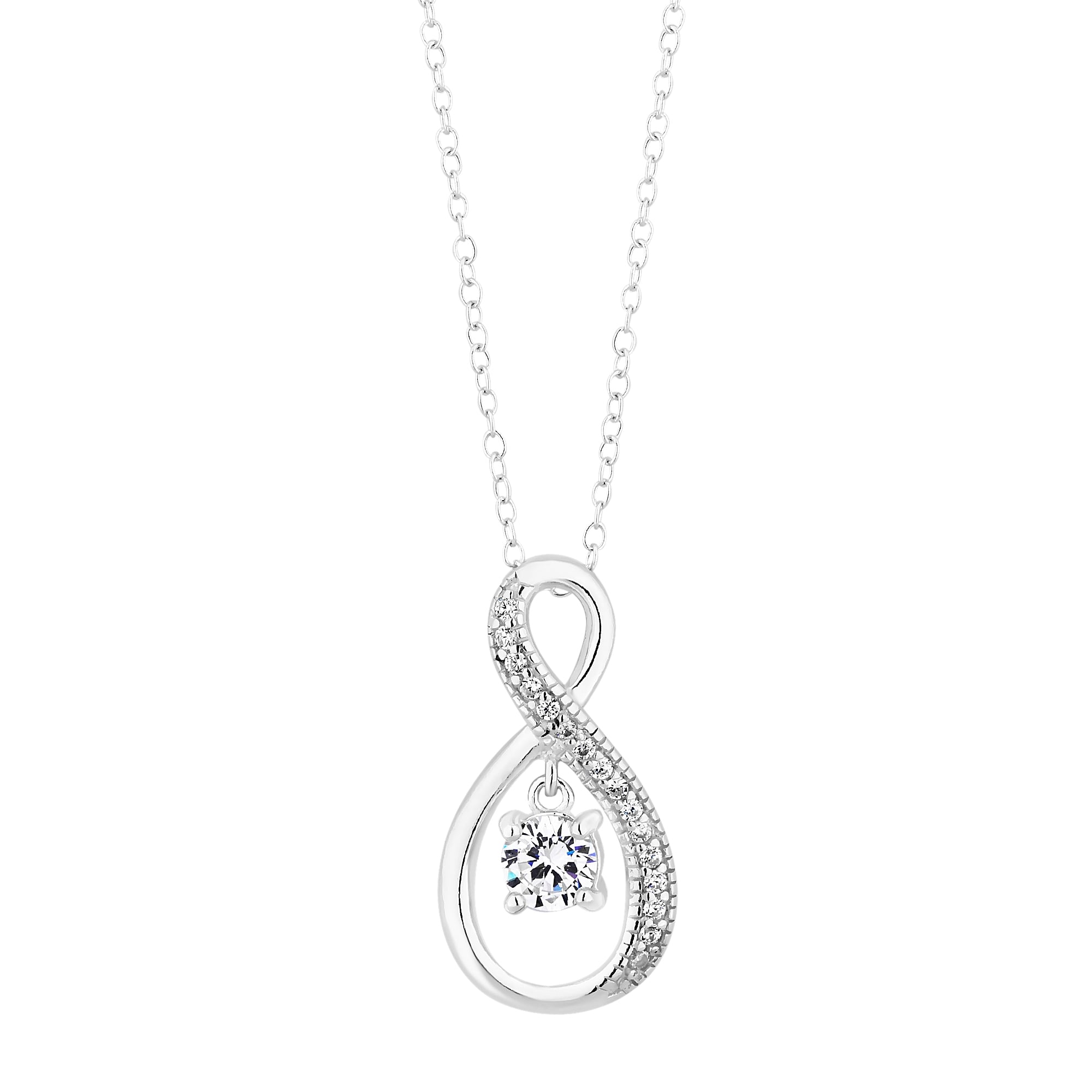 inch rose and pendant silver tone infinity pin cz white with heart necklace finish sterling fashion