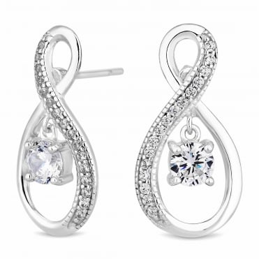 Sterling Silver Pave Infinity With Suspended Cubic Zirconia Earring
