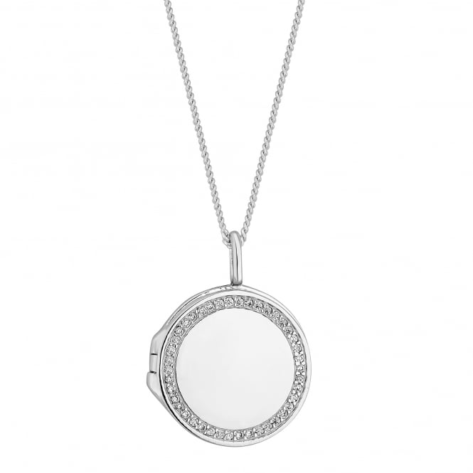 Simply Silver Sterling silver pave locket necklace