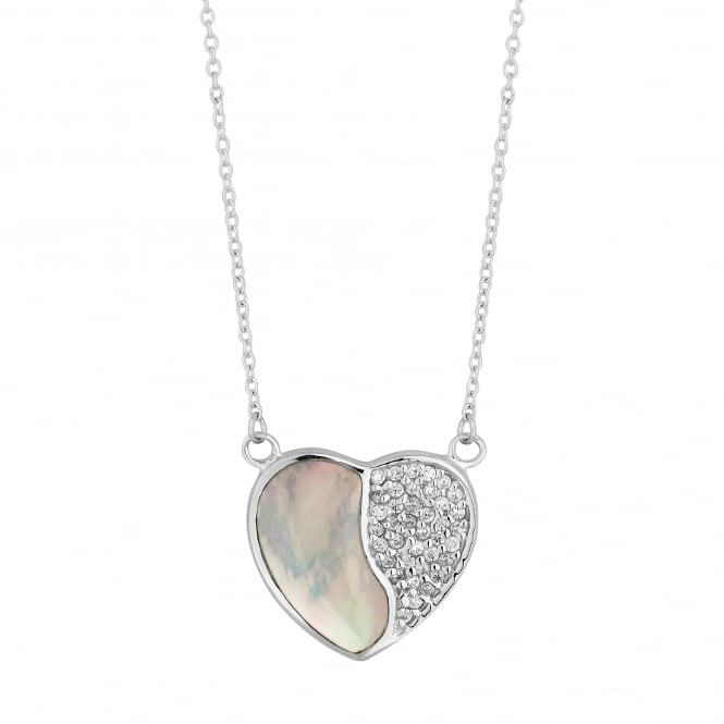 Sterling Silver Pave Mother Of Pearl Heart Necklace
